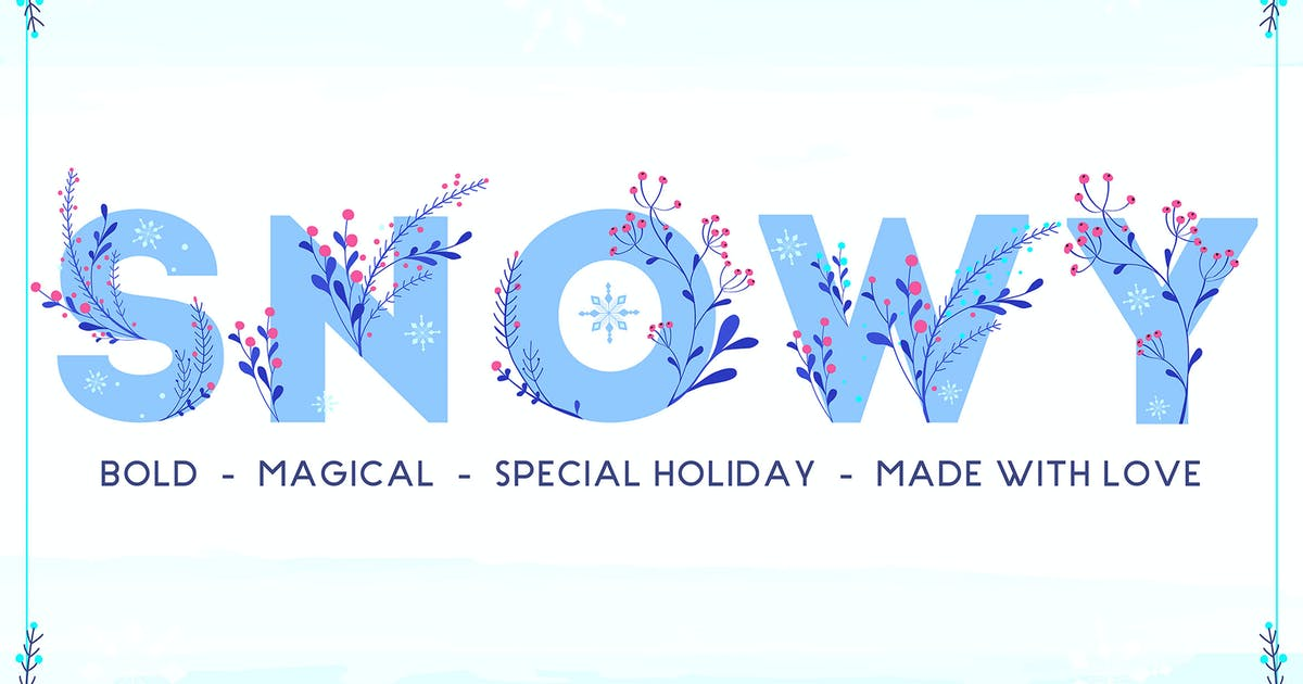 Download Snowy - Winter Floral Color Font by NEWFLIX