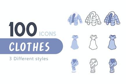 100 Conjunto de iconos de ropa