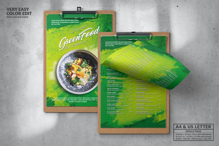Thumbnail for Green Food Menu Design A4 & US Letter