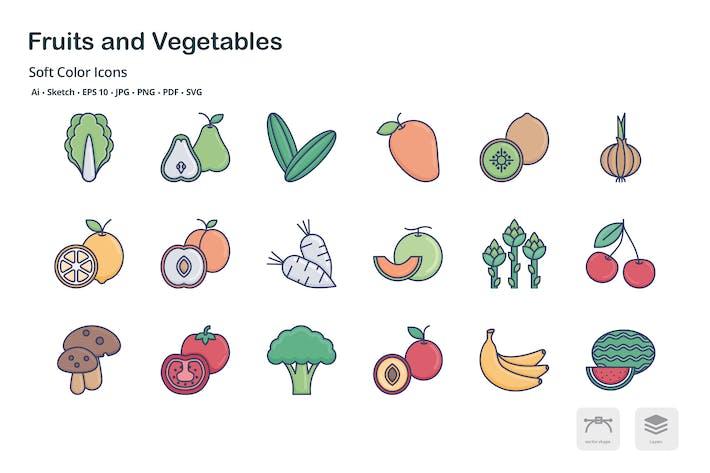 Thumbnail for Obst und Gemüse weiche FarbIcons
