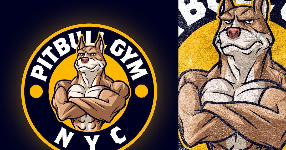 Download Cartoon Gym Bodybuilder Pitbull Dog Mascot Logo by Suhandi