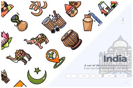 30 Íconos de elementos de India