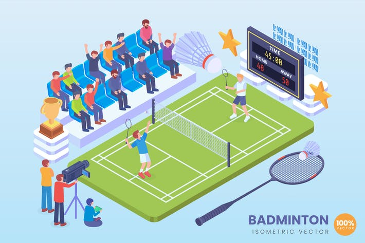 Isometric Badminton Match Vector Concept