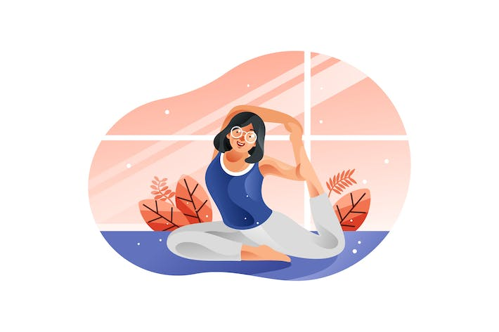 Thumbnail for Young woman sitting in yoga posture and meditation