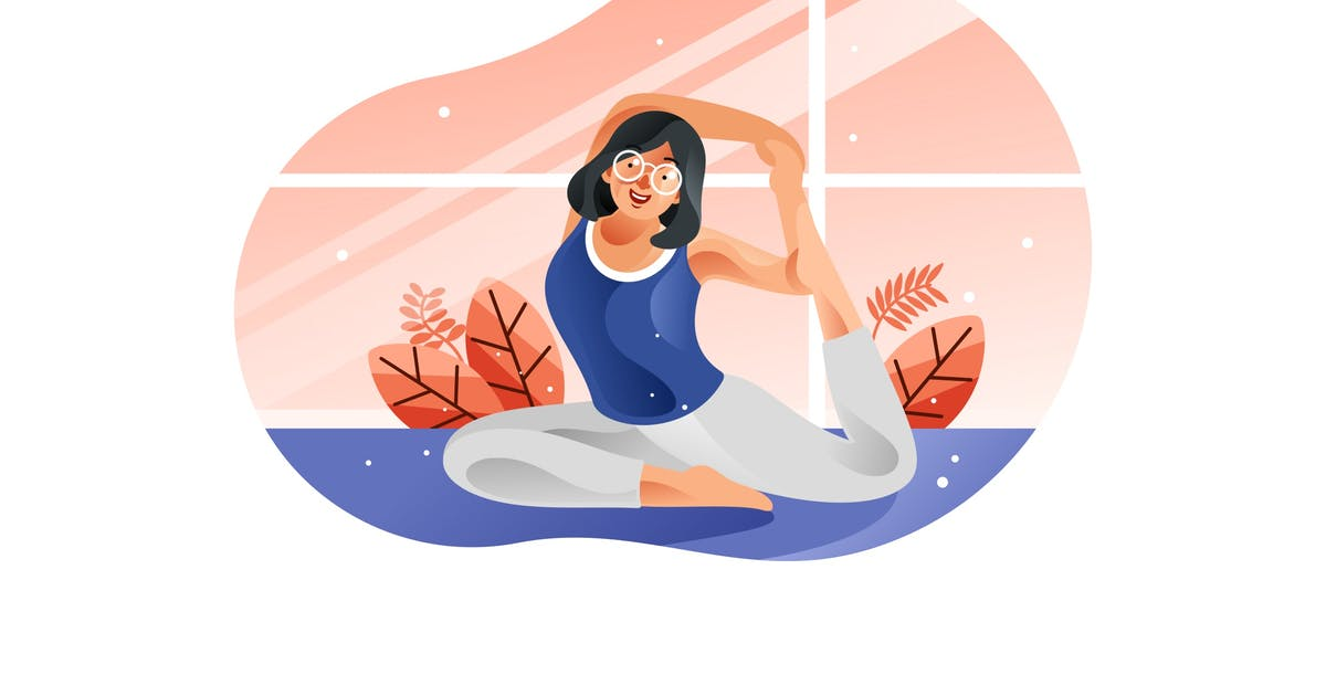 Download Young woman sitting in yoga posture and meditation by IanMikraz