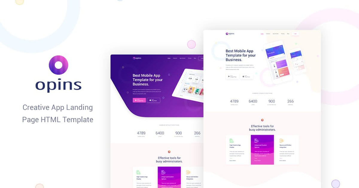 Download Opins - Creative App Landing Page HTML Template by Layerdrops