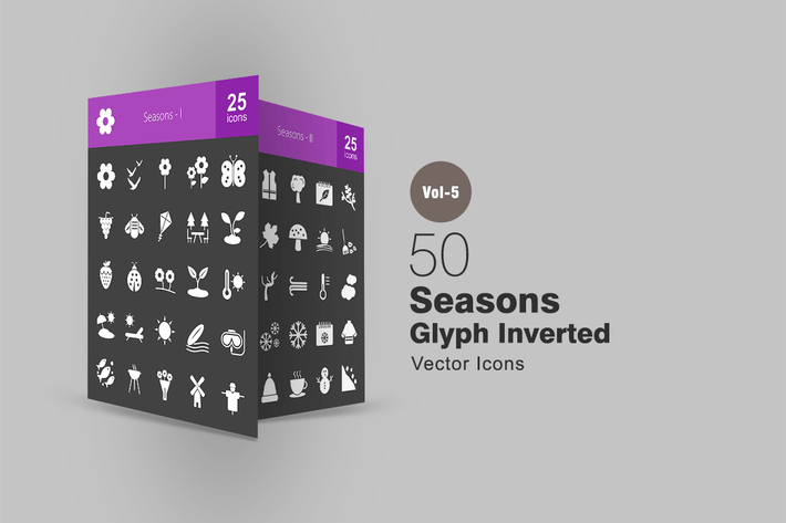 Thumbnail for 50 Seasons Glyph Inverted Icons
