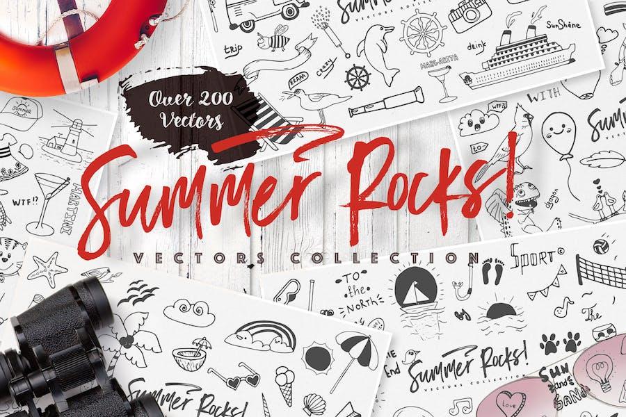 Sommer-Felsen: Vektoren Sammlung