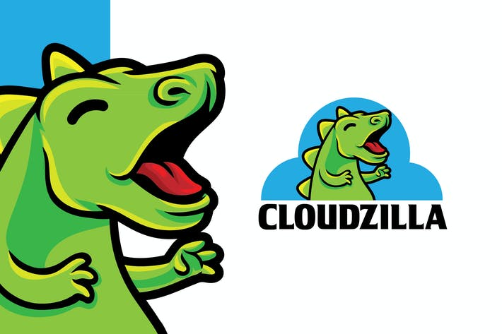 Thumbnail for Cloudzilla Digital Server Logo Mascot Template