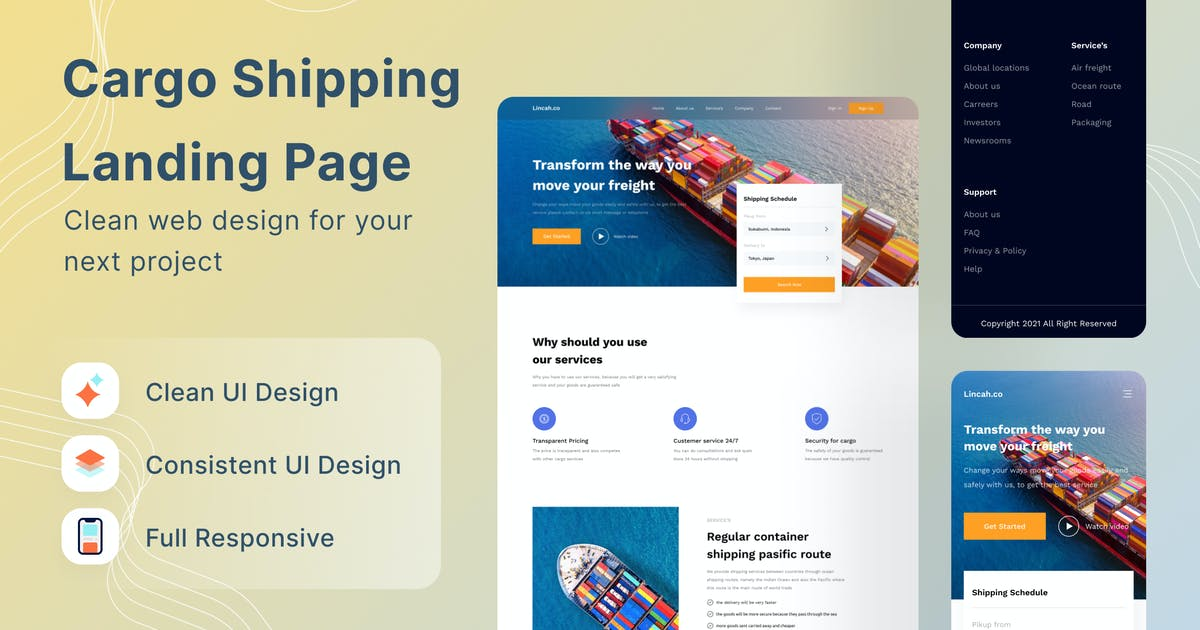 Download Cargo Shipping Landing Page by DimoGraphic