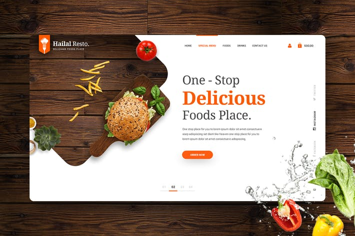 Thumbnail for Hailal Resto - Foods Hero Header Template V.1
