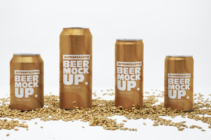 Thumbnail for Different Size Front Malt Can Mockups