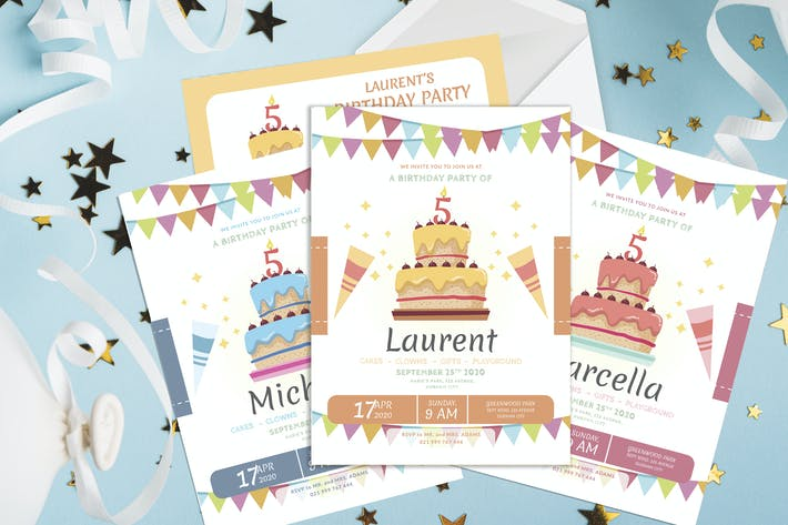 Thumbnail for Cake and Celebration - Kids Birthday Invitation