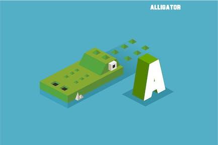 A for Alligator. Animal Alphabet