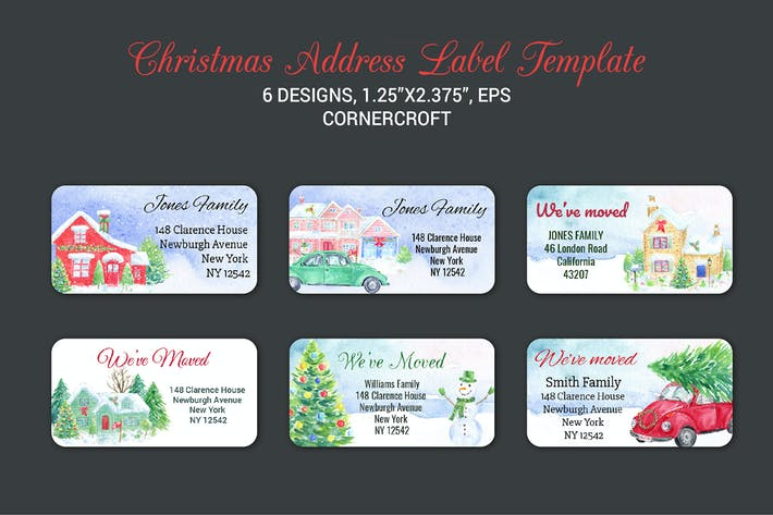 Thumbnail for Christmas Address Label Template