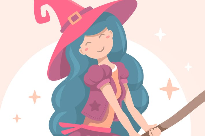 Thumbnail for Halloween witch flying on a broomstick