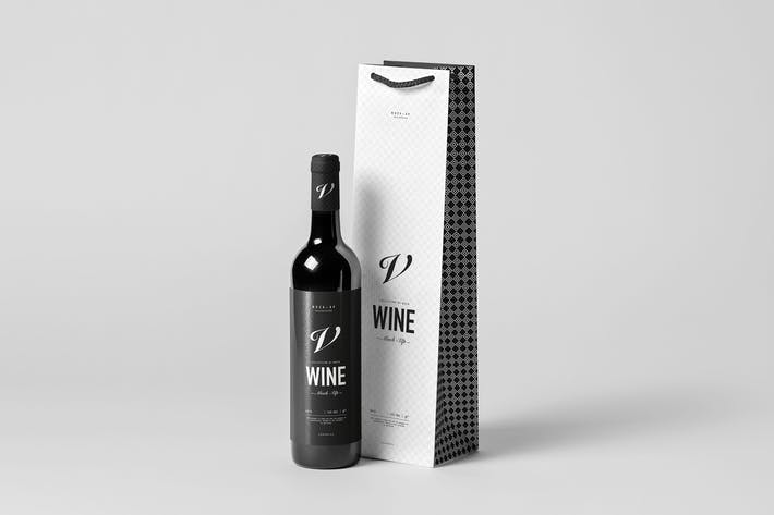 Thumbnail for Wine Bag & Bottle Mock-up