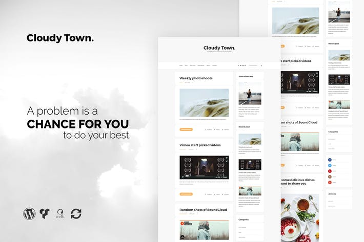 Thumbnail for Cloudy Town - Clean Minimal Blog WordPress Theme