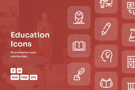 Education Dashed Line Icons
