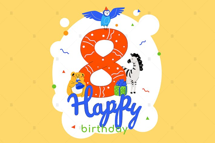 Thumbnail for Children 8th birthday greeting card