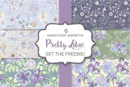 Set mit 6 Aquarell-Mustern in hübschem lila Farbton