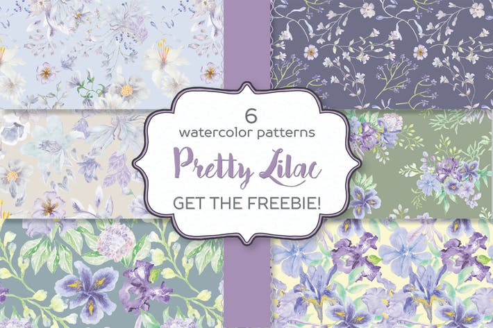 Cover Image For Set of 6 Watercolor Patterns in Pretty Lilac Shade