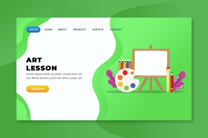 Thumbnail for Art Lesson - XD PSD AI Vector Landing Page