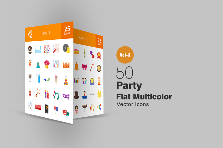 Thumbnail for 50 Party Flat Multicolor Icons