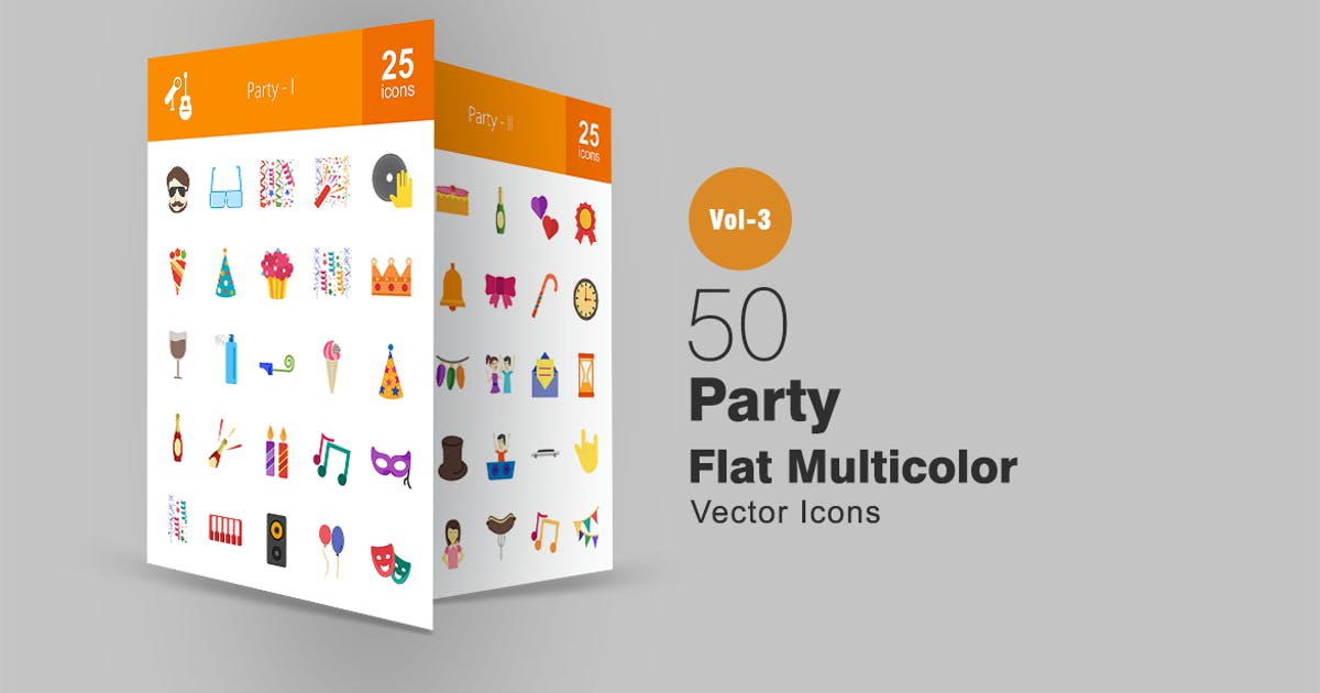 Download 50 Party Flat Multicolor Icons by IconBunny