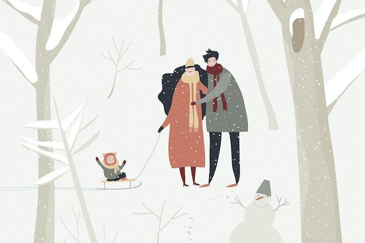 Cartoon glückliche Familie zu Fuß im Winterwald. Vec