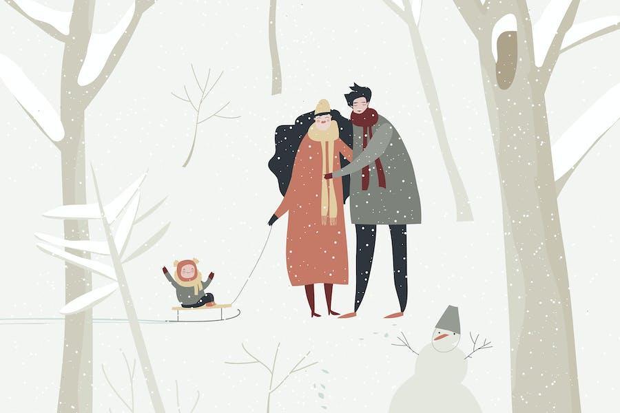 Dibujos animados familia feliz caminando en el bosque de invierno. Vec