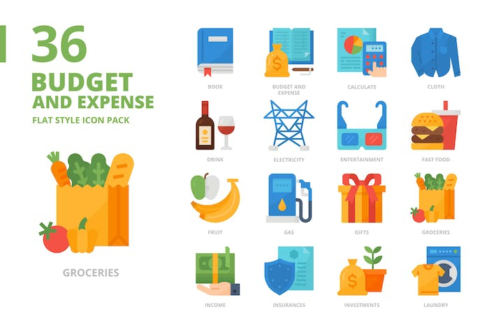 Budget and Expense Flat Style Icon Set
