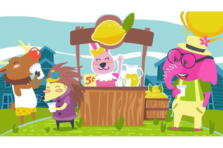 Cover Image For Fable Story Animals Drink Lemonade