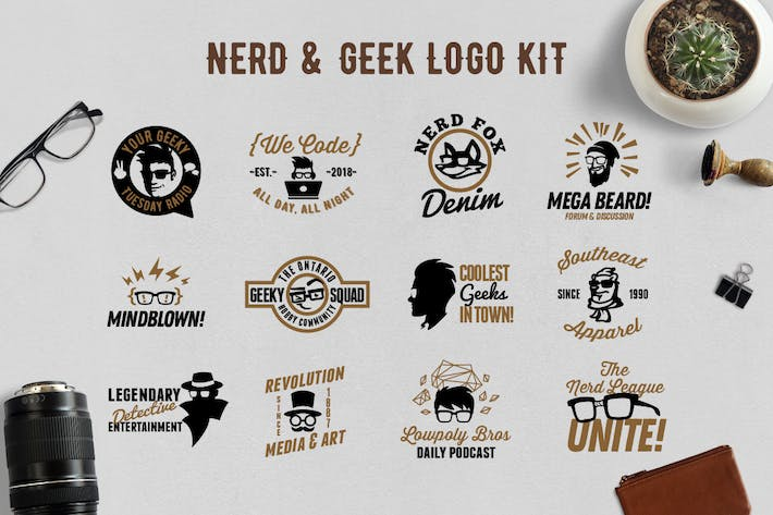 Thumbnail for Nerd and Geek Badge Logo Kit