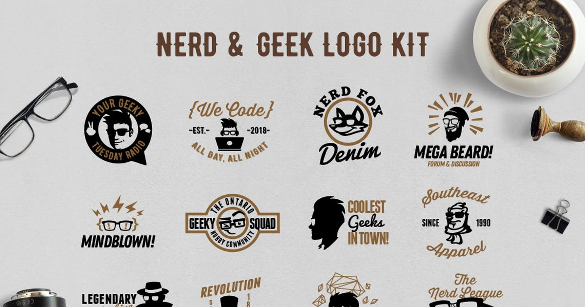 Download Nerd and Geek Badge Logo Kit by Suhandi