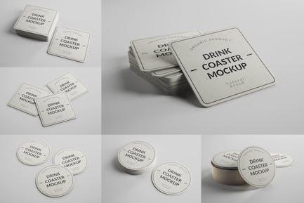 Paper Drink Coaster Mockups