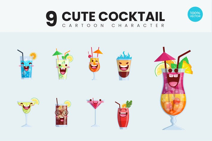 Thumbnail for 9 Cute Cocktail Drink Vector Illustration Vol.1