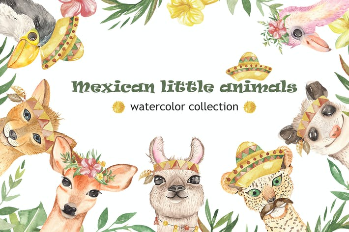 Thumbnail for Watercolor Mexican little animals
