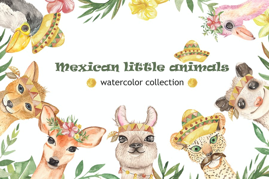 Watercolor Mexican little animals