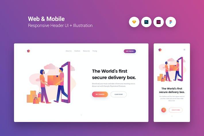 Thumbnail for Web & Mobile Responsive Cover UI + Illustration 8