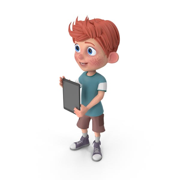Cartoon Boy Charlie Holding Tablet