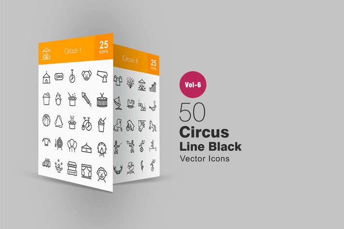 Thumbnail for 50 Circus Line Icons