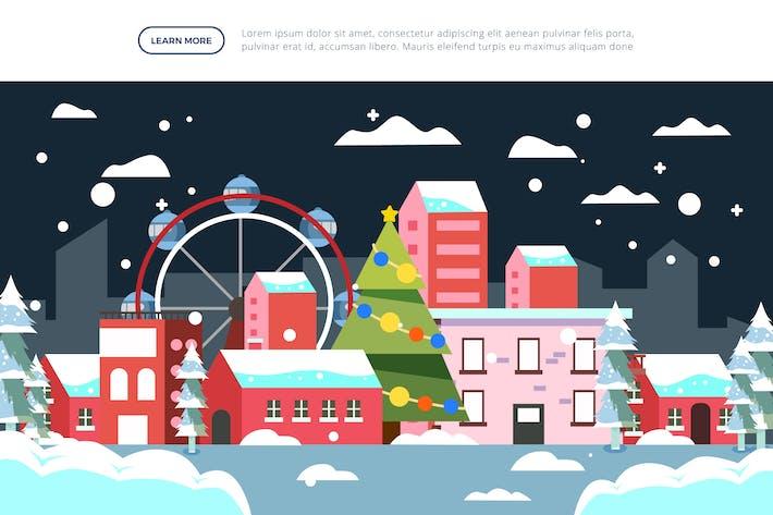 Stadt - Weihnachts- und Winter-Illustration