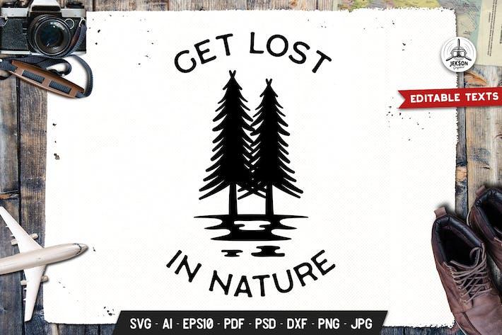 Thumbnail for Потеряться Природа Логотип Приключения, Ретро Печать Рубашка