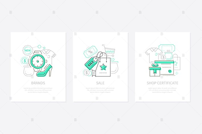 Thumbnail for Shopping - line design style banners set