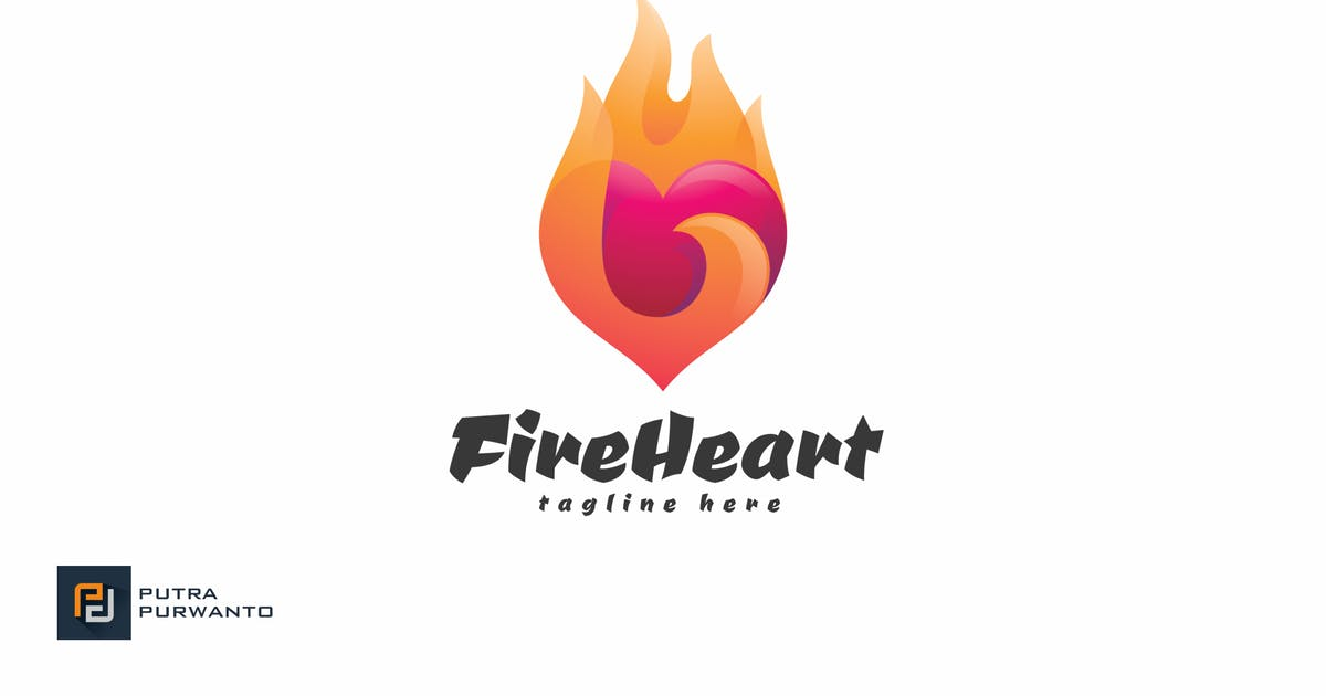 Download Fire Heart - Logo Template by putra_purwanto