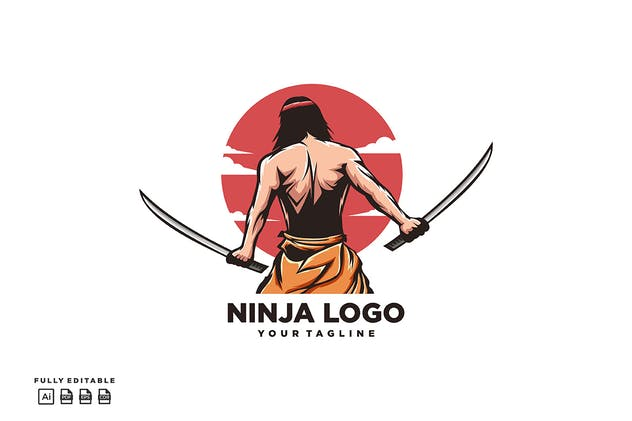 Ninja Two Swords Logo - product preview 1