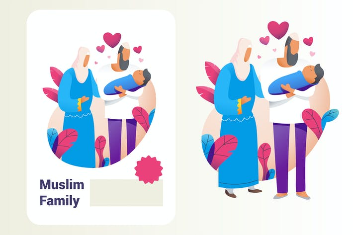 Thumbnail for Muslim family with new baby born