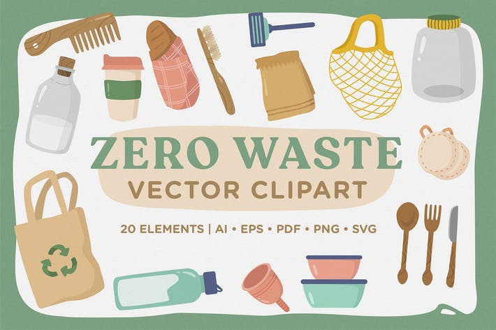 Thumbnail for Zero Waste Vector CLipart Pack