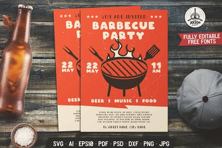 Barbecue Party Flyer. Summer BBQ Poster Template